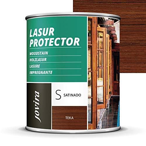 LASUR PROTECTOR SATINADO.(7 COLORES), Protege, decora y embellece todo tipo de madera (750 ML, TEKA)