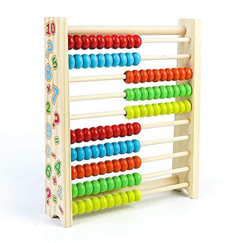 Symiu Abaco Giochi in Legno per Bambini Giocattoli Montessori Matematica Prima Infanzia con 100 Perline Giochi Educativi Regalo per Ragazzo Ragazza 3 4 5 6 Anni