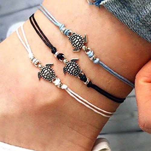 Gaddrt Women Girls Turtle Beach Foot Chain Anklets Vintage Bracelet Jewelry - Bohemian Style Adjustable (D)