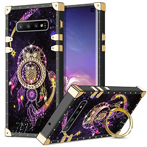 Wollony Case for Galaxy S10 Plus with Kickstand Ring Stand Square Metal Edge Luxury Case for Women Girls Drop Protection Shockproof Protective Cover Compatible with Galaxy S10+ 6.4 inch Owl