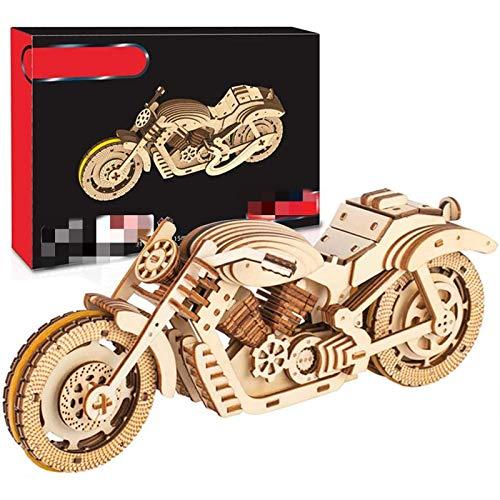 Pzpgeq Adultos y Adolescentes Modelo de Arte de Madera Rompecabezas 3D Modelo mecánico de Juguete de Motocicleta, Rompecabezas 3D de Engranajes móviles autopropulsados