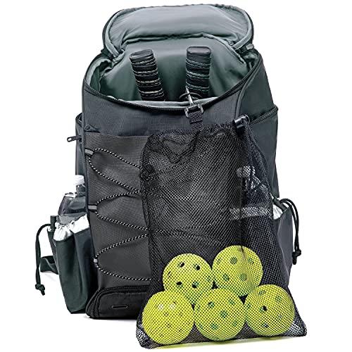 Athletico Pickleball Backpack - Pickleball Bags for Men or Women Includes Pickleball Ball Holder (Black)