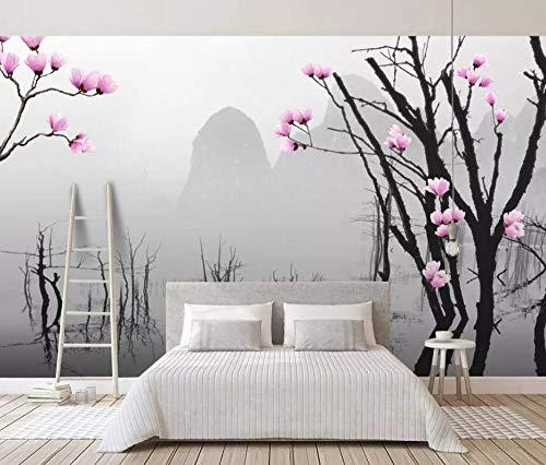 Fototapete 3D Effekt Tapeten Chinesischen Stil Schwarz Und Weiß Bäume Berge Wasser Vliestapete 3D Tapete Moderne Wandbilder Wanddeko