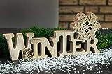 Holz Aufsteller Winter LED Licht Schriftzug stehend Raumdeko gold Glitzer innen Natur Dekoration dekorieren hinstellen Schneeflocke Holzdeko Winterfeeling Deko Schild Tischdeko Wanddeko (Motiv 2) - 4