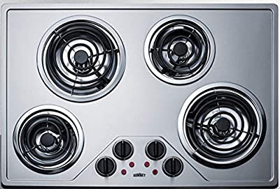 """Summit Appliance CR430SS 30"""" Wide 230V Electric Cooktop with Four Coil Elements and Stainless Steel Finish, Removable Chrome Drip Bowls, Black Matte Finish on Knobs, Indicator Lights"""