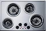 Summit Appliance CR430SS 30' Wide 230V Electric Cooktop with Four Coil Elements and Stainless Steel Finish, Removable Chrome Drip Bowls, Black Matte Finish on Knobs, Indicator Lights