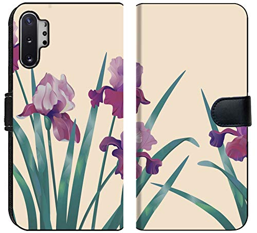 MSD Premium Designed Note 10 Plus Flip Fabric Wallet Case Image ID: 15229383 Decorative Floral Background with Lilac iris