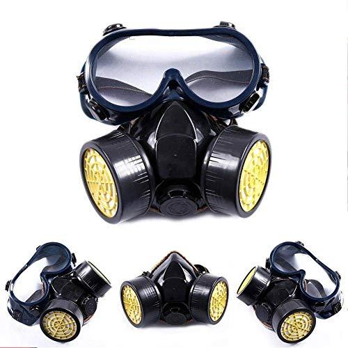 Sabcase Doble Máscara De Gas Máscara Química del Respirador De Gas Unisex Supervivencia Cara con Los Anteojos