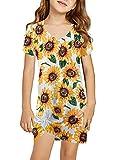 Sidefeel Girls Short Sleeve Floral Print Tshirt Dresses Side Knot Mini Dress Size 10-11 White