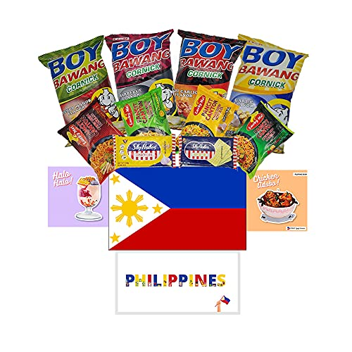 HCG Filipino Snack Box Variety Pack with Philippines Flag Sticker, Boy Bawang, Lucky Me Noodles, Skyflakes