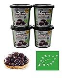 Olives a la grecque | kalamata biologique| 4 pots de 365 g | 100% authentique | Olives kalamata | issue de l'agriculture biologique en Grèce