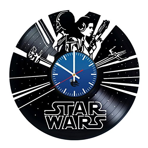Star Wars Handmade Vinyl Record Wall Clock Fun gift Vintage Unique Home decor