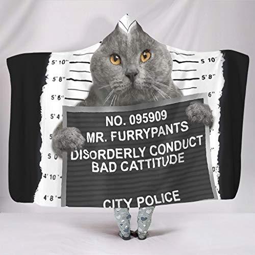 Bestwe Schwarze Katzenminze ließ Mich es tun Tragbare Kapuzendecke Ultra Weich Premium Couchdecke Für Bett Couch Stuhl Erwachsene und Kinder Alle Jahreszeiten White 150x200cm