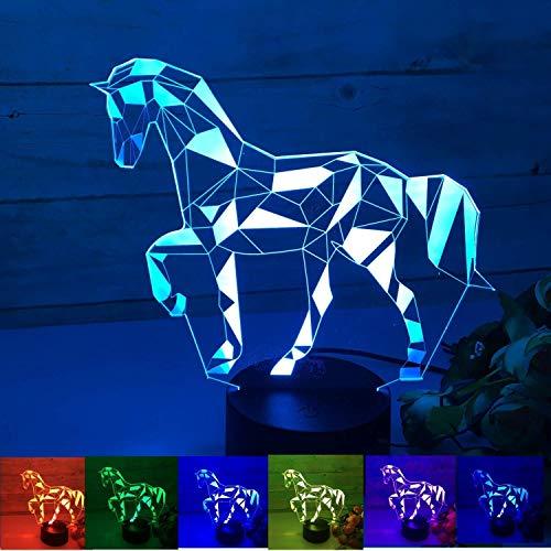 CUIRUI 3D-illusie-lamp, 7 toetsen met afstandsbediening en afstandsbediening, acryl-LED-lampen met decoratie voor thuis, USB-verjaardagscadeau voor kinderen