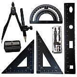 7 pièces Kit de Geometrie, FORTSPANG Math Géométrie Kit de Math Géométrie Kit,Compas Scolaire Ensemble Outil de Géométrie Comprenant Regle Equerre Rapporteur