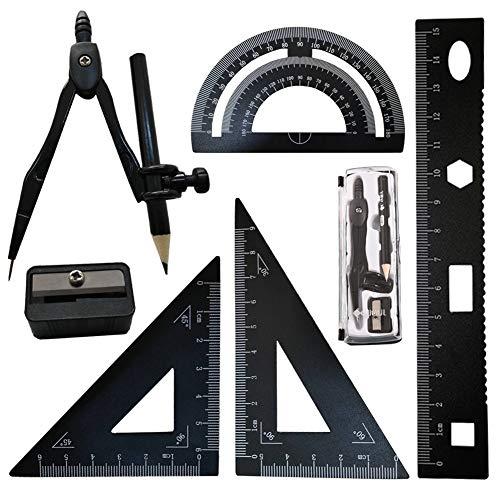 Geometrie Set, FORTSPANG Compass für Geometrie Math Geometry Kit 7 Stück, Inklusive Lineale Winkelmesser Zeichnung Kompass, Bleistift,für Studenten Technische Zeichnungen