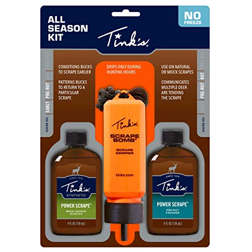 Tink's Power Scrape All Season Kit   Value Pack   Hunting Accessories, Mock Scrape Starter and Pre-Rut Finisher, Scrape Dripper Included   Buck Scent Lure, Deer Scents + Attractants