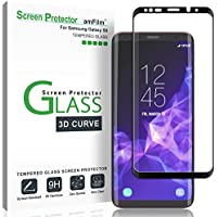 amFilm Galaxy S9 Protector Pantalla, Anti-Burbujas (3D Curvo) Cristal Vidrio Templado Protector de Pantalla para Samsung Galaxy S9 (Negro)