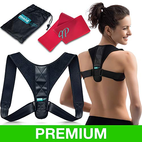 Body Wellness Posture Corrector for Women & Men – Thoracic Back Brace for Perfect Posture – Adjustable and Comfortable Clavicle Brace – Posture Fixer + Resistance Band + Detachable Pads + Carry Bag