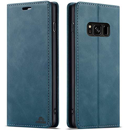 AFARER Galaxy S8 hülle,Handyhülle mit Einfache Art Tasche Lederhülle Flip Case Brieftasche Handy hülle für Samsung Galaxy S8 - Blau