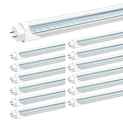 """JESLED T8 4FT LED Tube Light, 5000k Daylight, 24W 3000LM, Clear Cover, 4 Foot 48"""" T12 LED Bulbs Replacement for Garage Warehouse Shops Fluorescent Fixture, Dual-end Powered, Ballast Bypass (12-Pack)"""