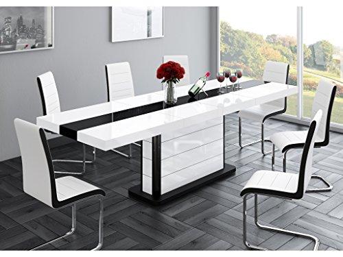 H MEUBLE Table A Manger Design Extensible 160÷210 CM X P : 89 CM X H: 75 CM – Blanc/Noir