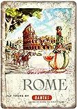Mulrcks Placa de metal para decoración de pared con diseño vintage de Roma, Italia, 20 x 30 cm, adecuada para cafeterías, restaurantes, hoteles, bares, casas rurales, jardín