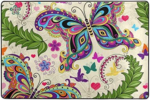 Alfombra de área 23.6 x 15.7 Pulgadas Vintage Hippie Mariposa Primavera Verano Flores Florales Pequeño Felpudo Felpudos Alfombrilla para la Puerta de Entrada Interior de la casa Puerta Principal