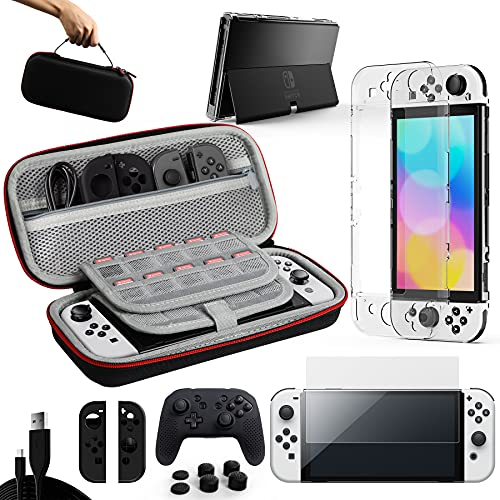 GTAplam Case Compatible with Nintendo Switch OLED Model 2021, 15 in 1,Accessories Kit with Carry Case, Clear Cover, Screen Protector, Silicone Skin for Joy-Con and Switch-Pro Controller,USB Cable&More