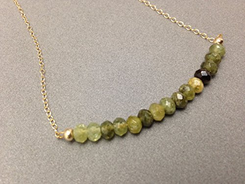 LOVEKUSH Green Garnet and Gold Filled Necklace for Fertility, Abundance, and Energy Boost. Connect to Gaia for Healing Earth Energy 2.5x4mm Code- WAR6258