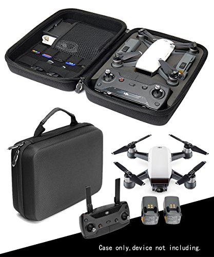 CaseSack Customized Drone Case Compatible with Spark Mini Quadcopter Drone, All in one Solution with Slots for 2 Batteries, Controller, Charger and propellers, Pocket for iPad or Propeller Guard