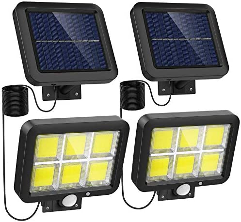 Solar Lights Outdoor Motion Sensor w 240 Bright COB LED 16 4Ft Cable 3 Lighting Modes Adjustable product image