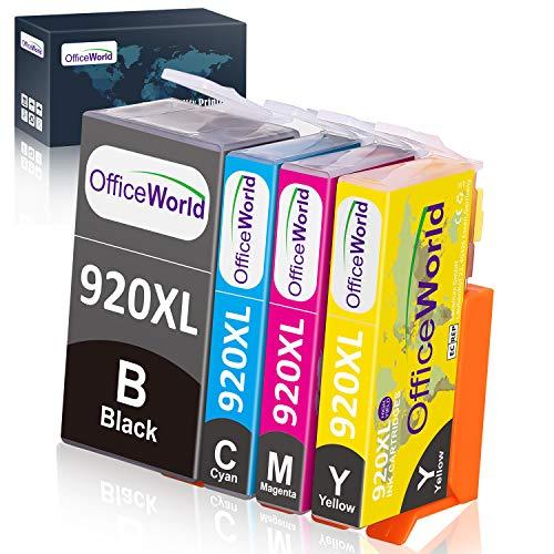 OfficeWorld Kompatible Patronen Ersatz für HP 920XL Druckerpatronen Hohe Kapazität Kompatibel mit HP Officejet 6500 6000 7000 7500 Drucker (1 Schwarz, 1 Cyan, 1 Magenta, 1 Gelb)