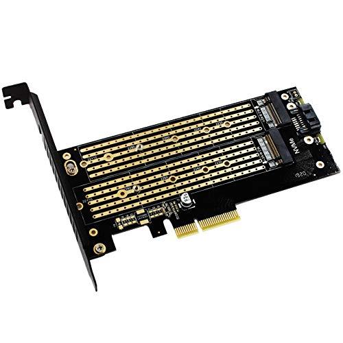 Módulo electrónico M.2 NVME SSD NGFF a PCI-E X4 Adaptador M-Key B-Key Tarjeta de interfaz de doble interfaz de soporte PCI-Express Tarjeta de expansión 3.0 x4 2230-22110 Tamaño M.2 Equipo electrónico