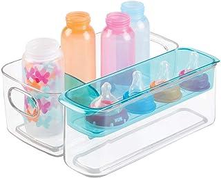 mDesign Caja organizadora para artículos de bebé - Organizador plástico con Compartimentos y Bandeja extraíble - Transparente