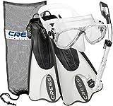 Cressi Palau Mask Fin Snorkel Set with Snorkeling Gear Bag, Mask Fin Snorkel Set - White - M/L | US Man 8.5/11 | US Lady 9.5/12, Black White (CRSPSFSS WT-ML)
