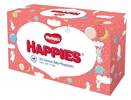 Huggies Happies trockene Baby-Pflegetücher, weich & reißfest, 10 x 100 Tücher, Monatsgröße
