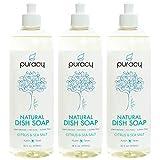 Puracy Natural Dish Soap, Citrus & Sea Salt, Sulfate-Free Liquid Detergent, 16 Ounce (3-Pack)