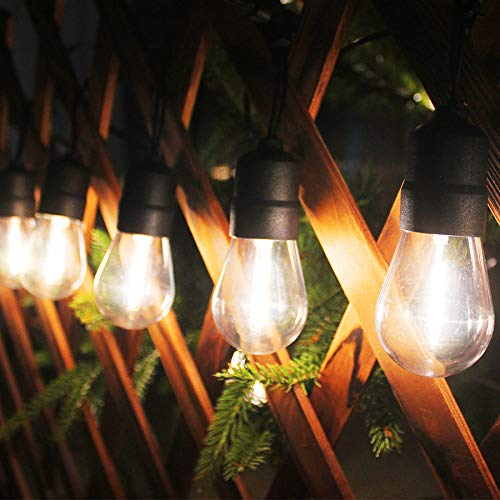 Waterproof Led Outdoor String Lights, 35 Warm White Shatterproof LED Bulbs, Low Voltage, Connectable, Indoor and Outdoor Festoon Lights for Christmas Wedding Garden Backyard Patio etc
