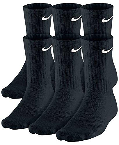 Nike Dri-Fit Classic Cushioned Crew Socks 6 Pair Black with, Black, Size 9.0