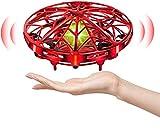 You's Auto Mini Drone para Niños Flying Toy 360° Rotación UFO Recargable con Luces LED Sensor de Infrarrojos de Juguete Volador Control Manual Juguete Volador Recargable Regalos para Niños (Rojo)