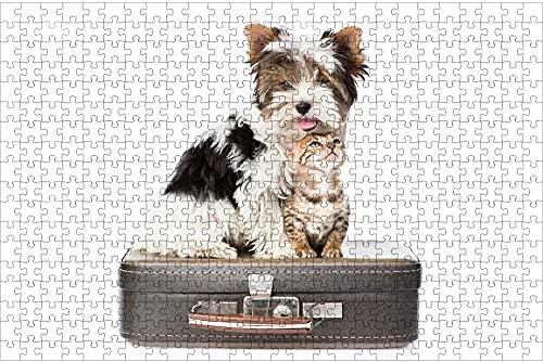 LHJOY niño Puzzle 1000 Piezas Gatito, Yorkshire Terrier Gato y Perro Dos Maletas Regalo de cumpleaños 75x50cm