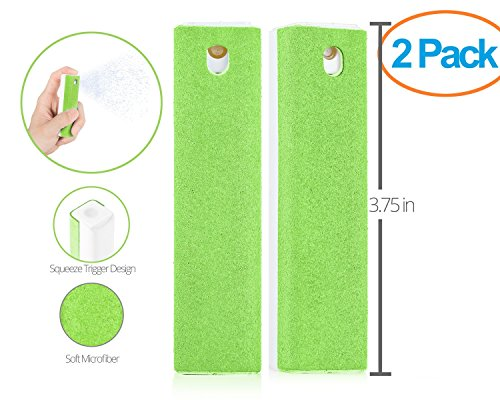 Ecran All in One Microfiber Screen Cleaning Tool for LED & LCD TV, Computer Monitor, Laptop, and iPad Screens - 100 Uses - Portable & Compact - Green - 2 Pack