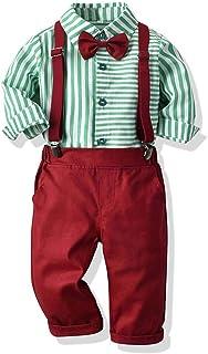 ZOEREA Baby Jungen Anzug Gentleman Hosenträger Hosen & Shirt mit Krawatte Bekleidung Set