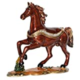 Minihouse Horse Trinket Box Hinged Hand-Painted Enameled AnimalFigurine Collectible Jewelry Box Ring Holder, Unique Gift for Home Decor