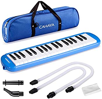 CAHAYA 37 Keys Melodica w/ Long Pipe Short Mouthpiece and Carrying Bag