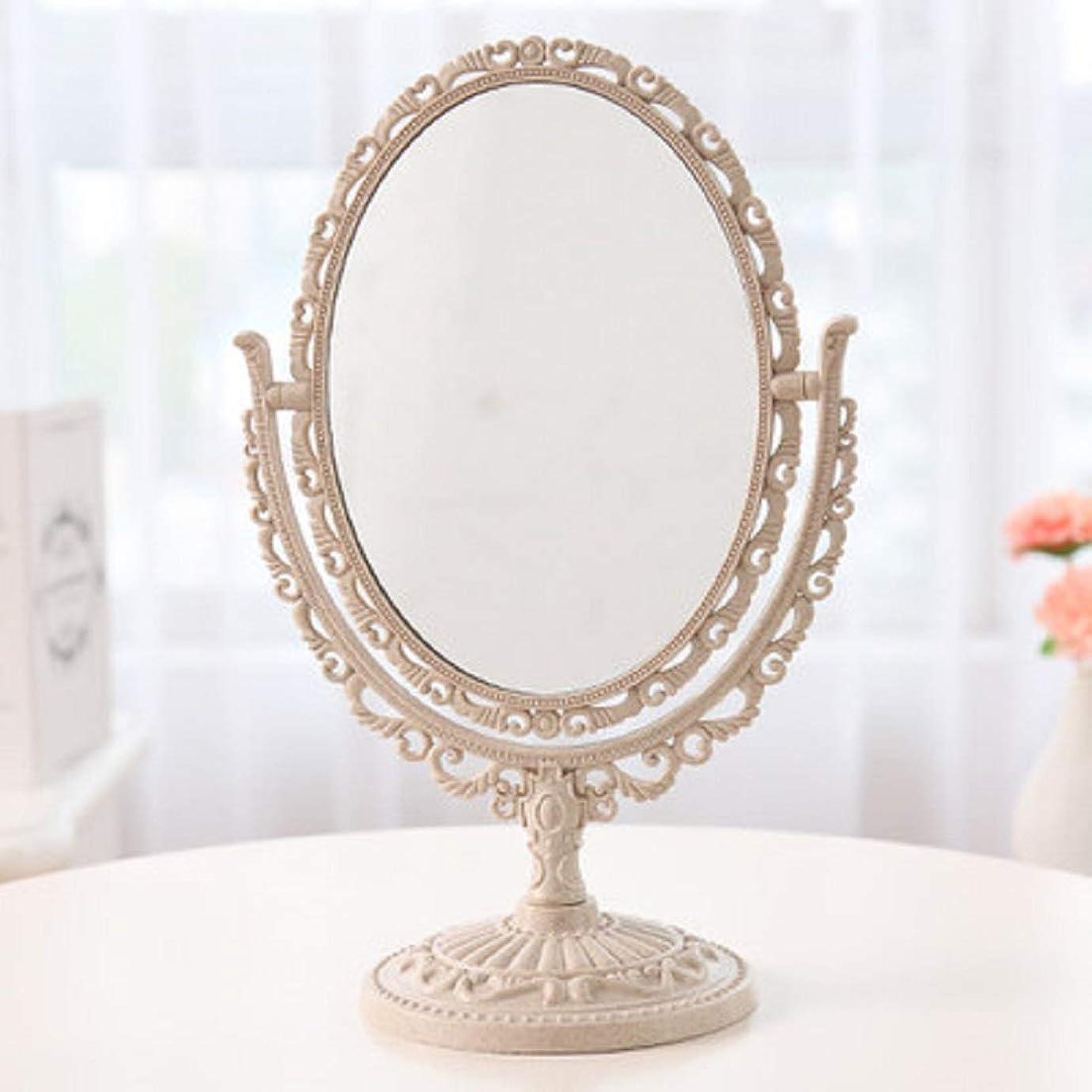同僚チューインガム漏れ化粧鏡、化粧鏡、両面化粧鏡、デスクトップ化粧鏡、360度回転、スタンド付き化粧鏡(麦わら素材)