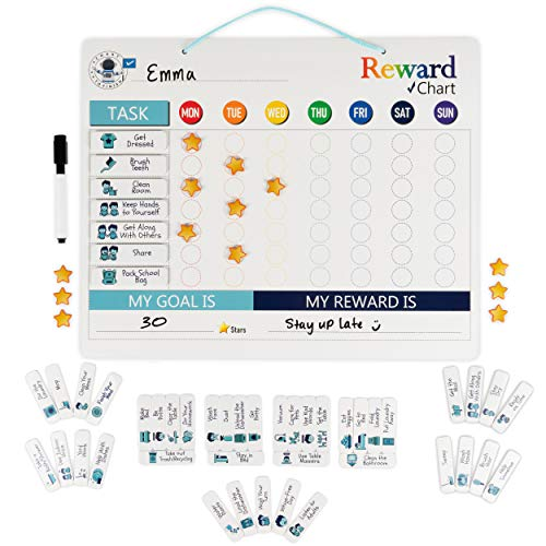 Chore Chart - Magnetic Chore Chart Attaches to Magnetic Surface or Can Hang - Use as a Behavior Chart for Kids or Reward Chart for Kids- Our Chore Chart for Kids Teaches Responsibility & Behavior