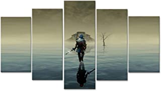 KTFBH 5 Living Room Canvas Painting Picture Poster 5 Panel Zelda Legend Game Z Wall Living Room Home Office Decoration New Art-Framed