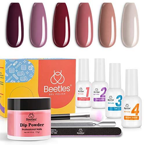 Beetles Dip Powder Starter Kit 6 Colors Dipping Powder Purple Nude Pink Nail Dip Set Dip System for Dip Nails Manicure Nail Art Set,No LED Nail Lamp Needed, 0.53 fl.Oz/Each